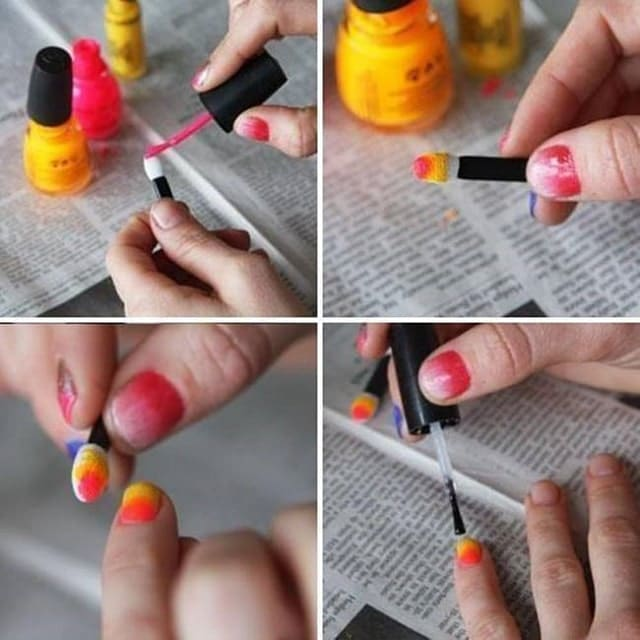 how to do ombre nails without sponge