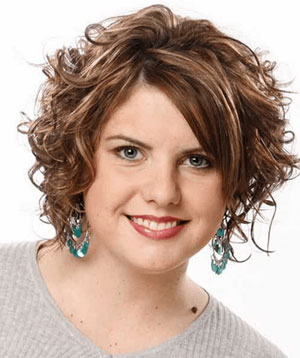 frizzy curls - Best Short Hairstyle for Women with Fat Face and Double Chin