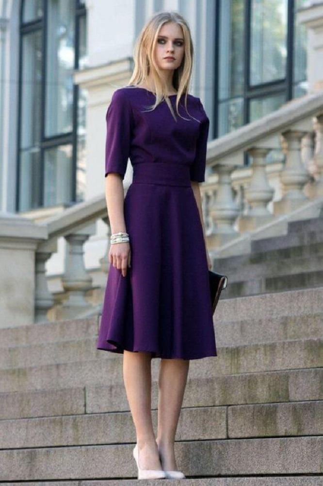Purple Knee Length Dress