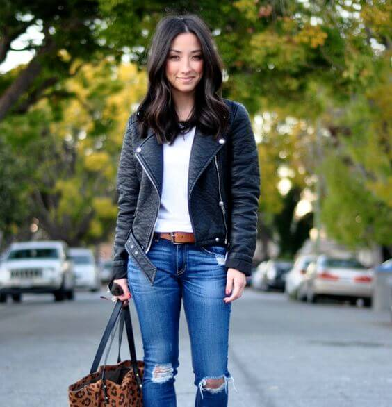 Leather jackets with ripped jeans