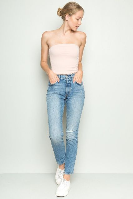 Strapless top with ripped jeans