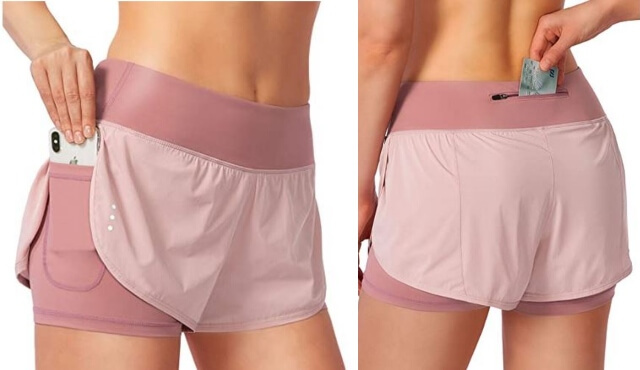 Breathable shorts with pockets for running