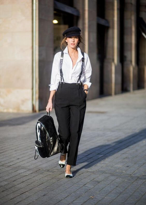 Suit Pants with Suspenders for women