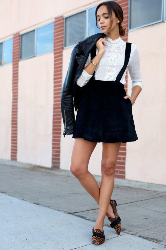 Suspenders with short Skirt