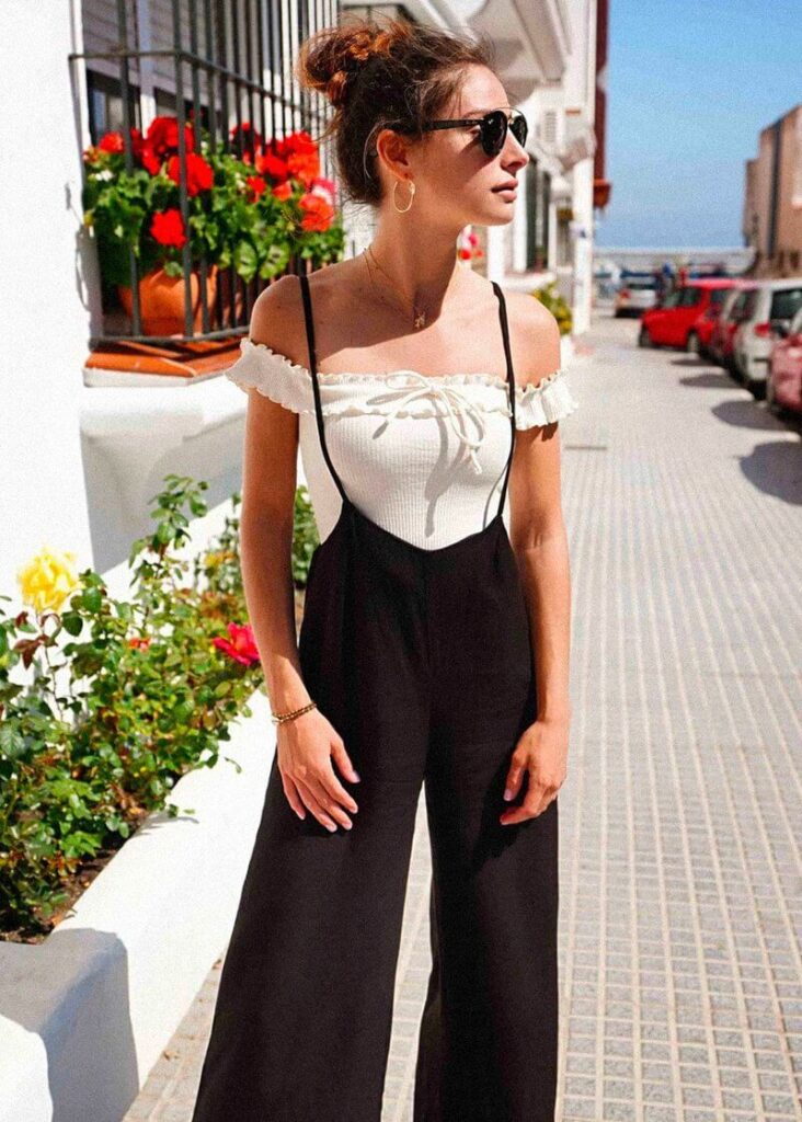 Wide Leg Pants with Suspenders for women