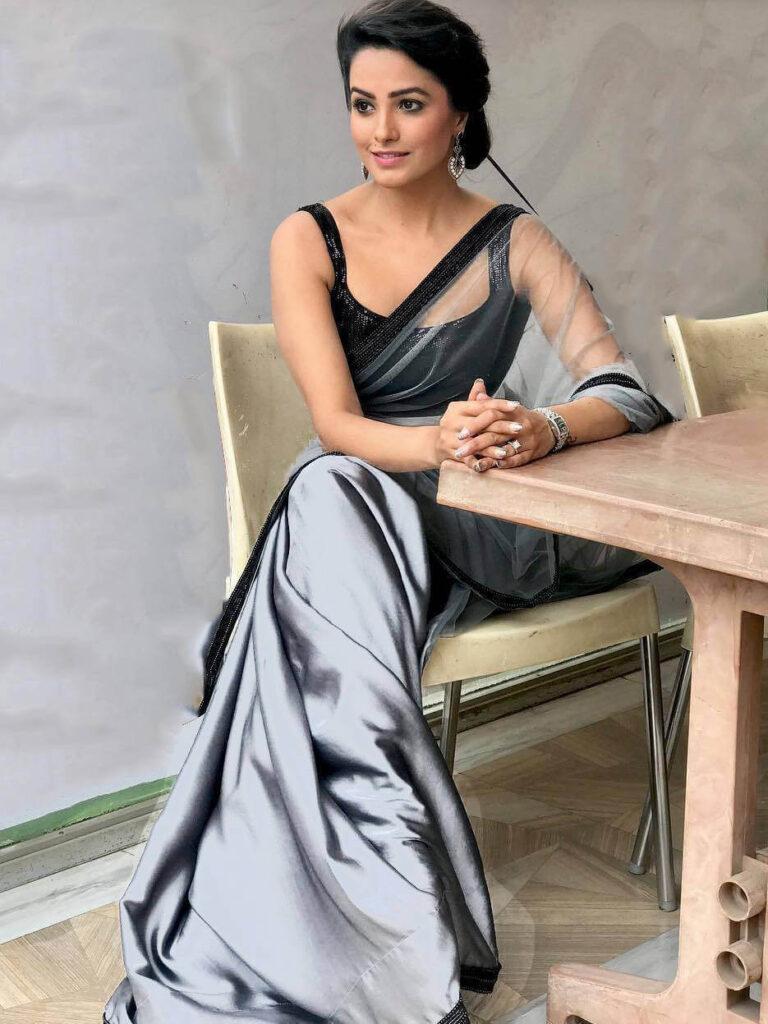 Grey Saree with a black blouse