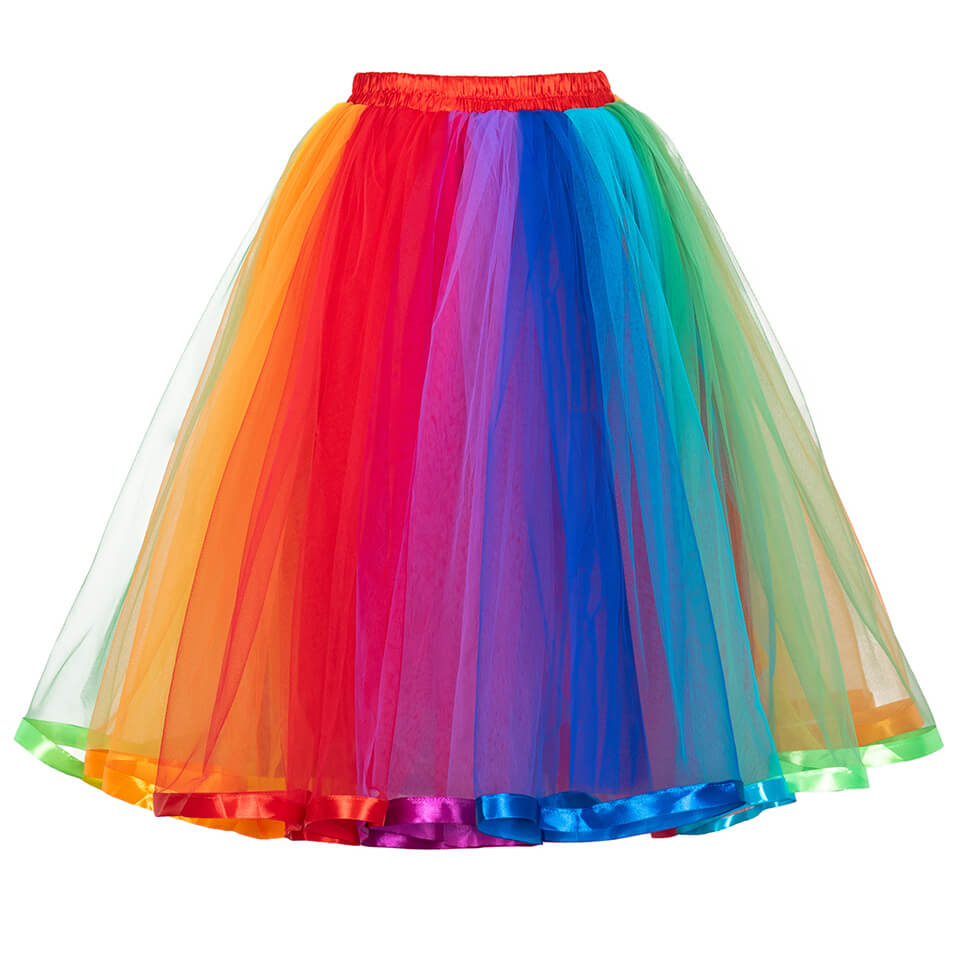 Layered Rainbow Colorful Skirt