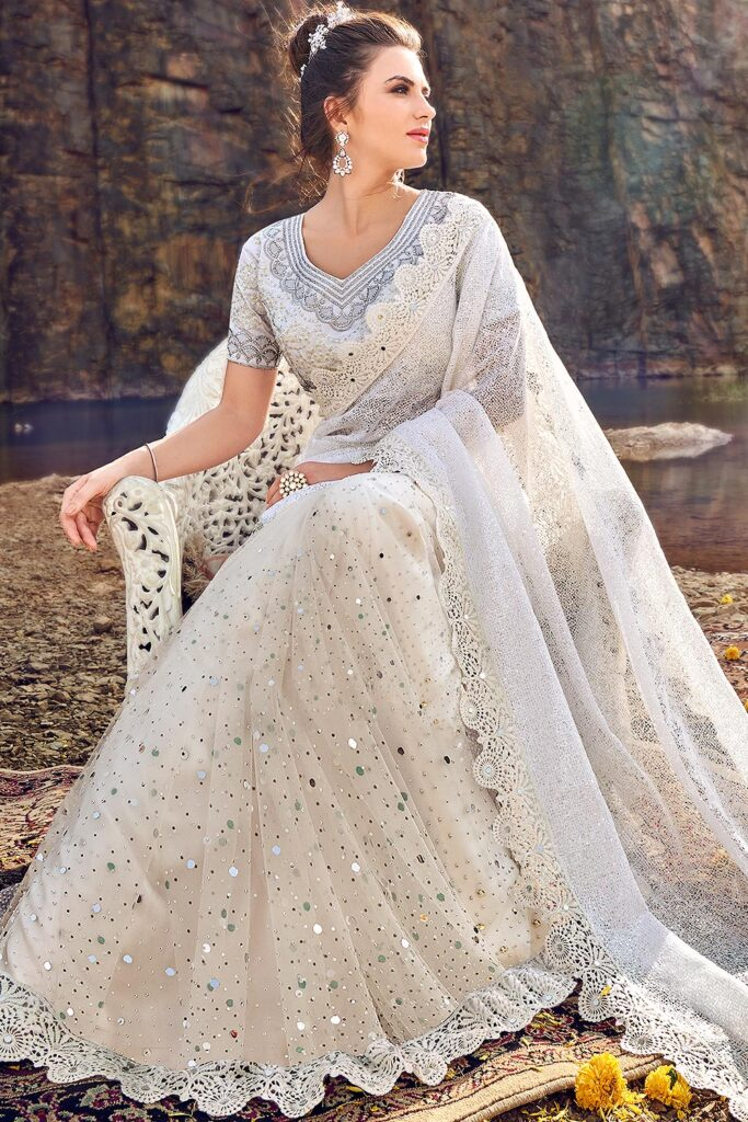 White Saree with net blouse