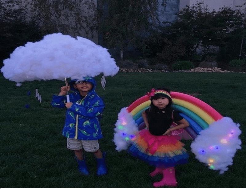 DIY Cloud and Rainbow Halloween Costume